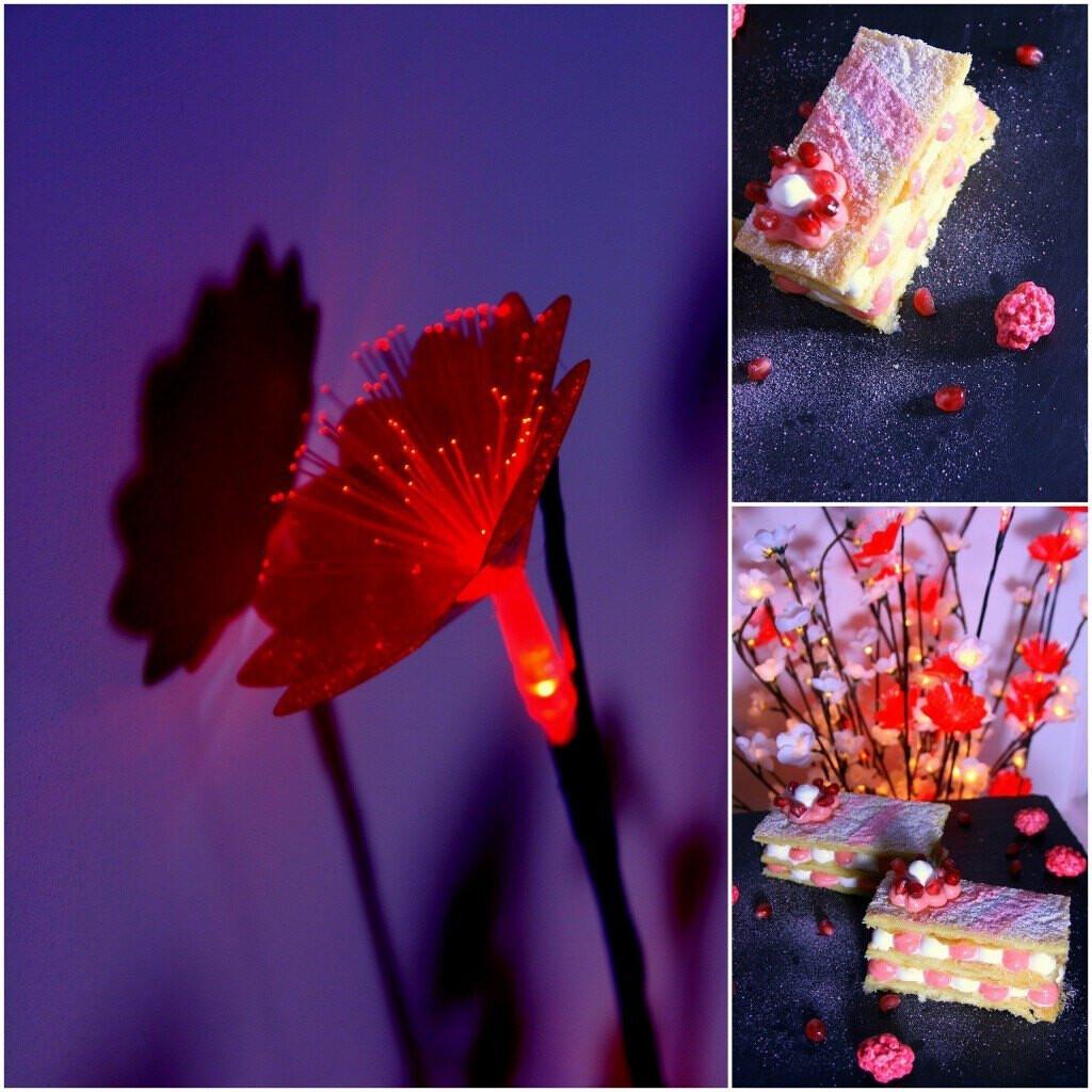 Millefeuille aux pralines roses et à la grenade