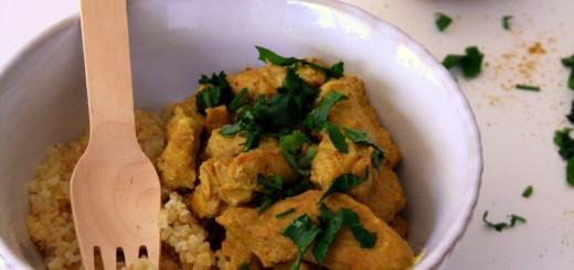 Emincé de dinde au curry et au lait de coco