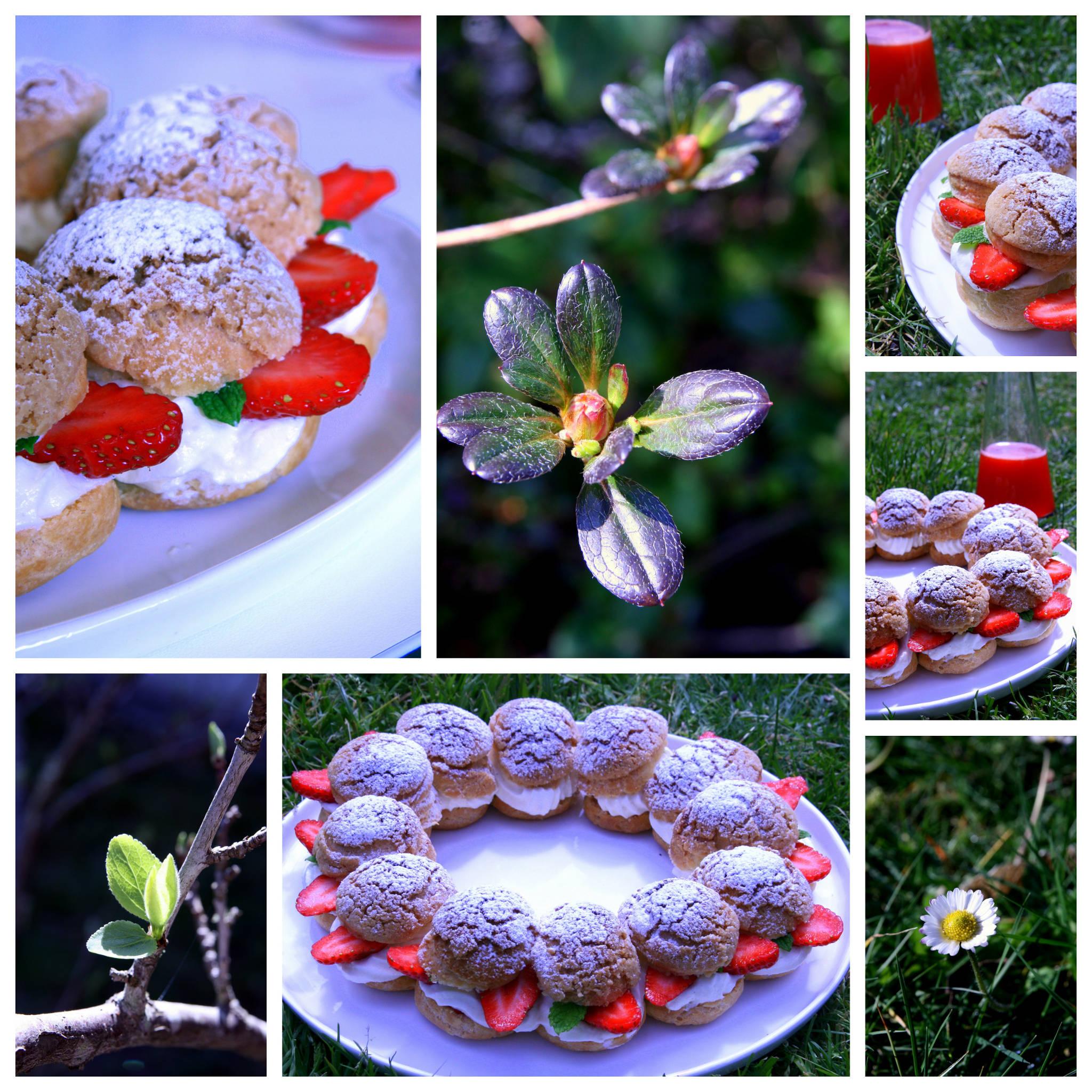 Couronne de choux aux fraises et chocolat blanc, eau de fraise