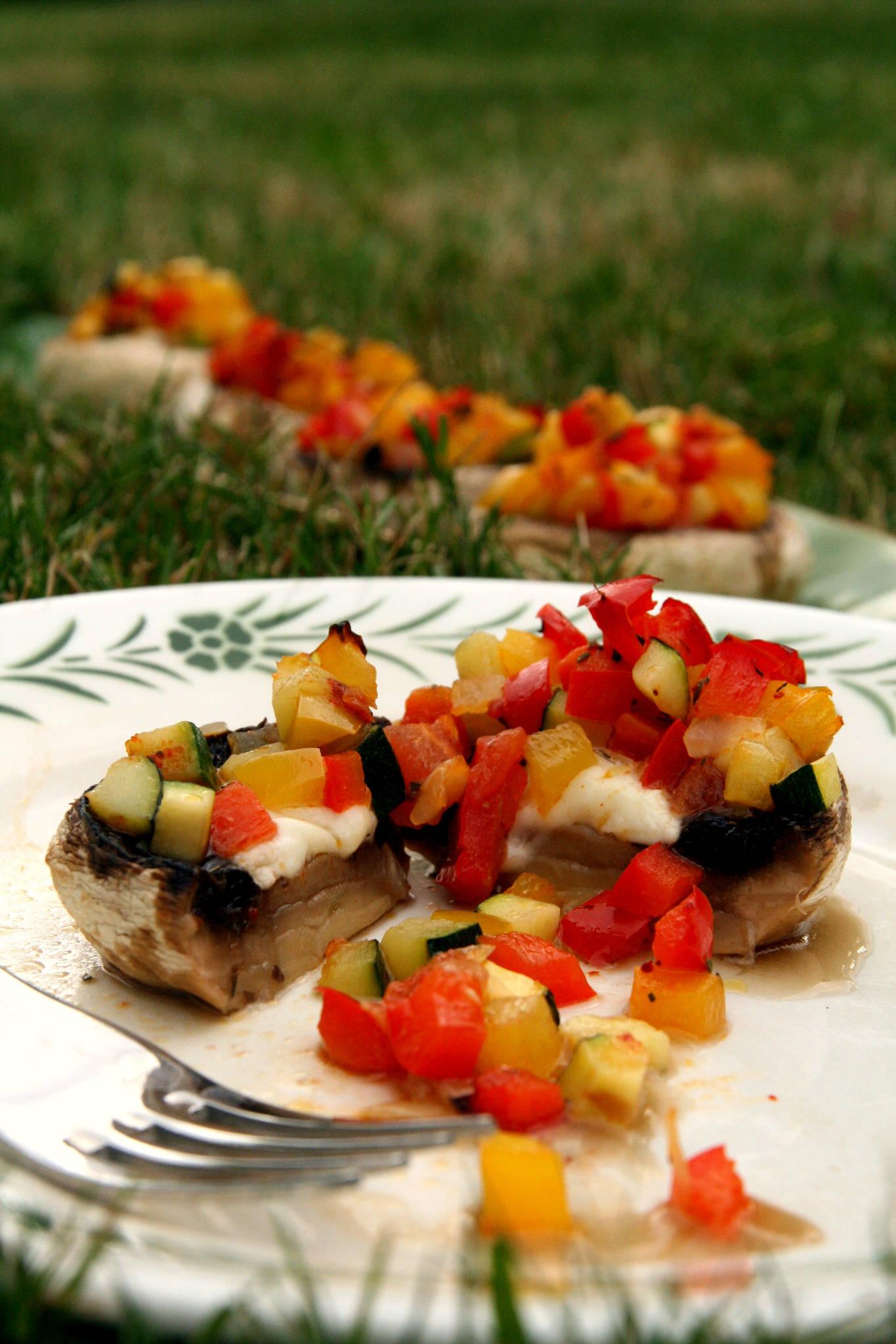 Champignons farcis aux légumes du soleil