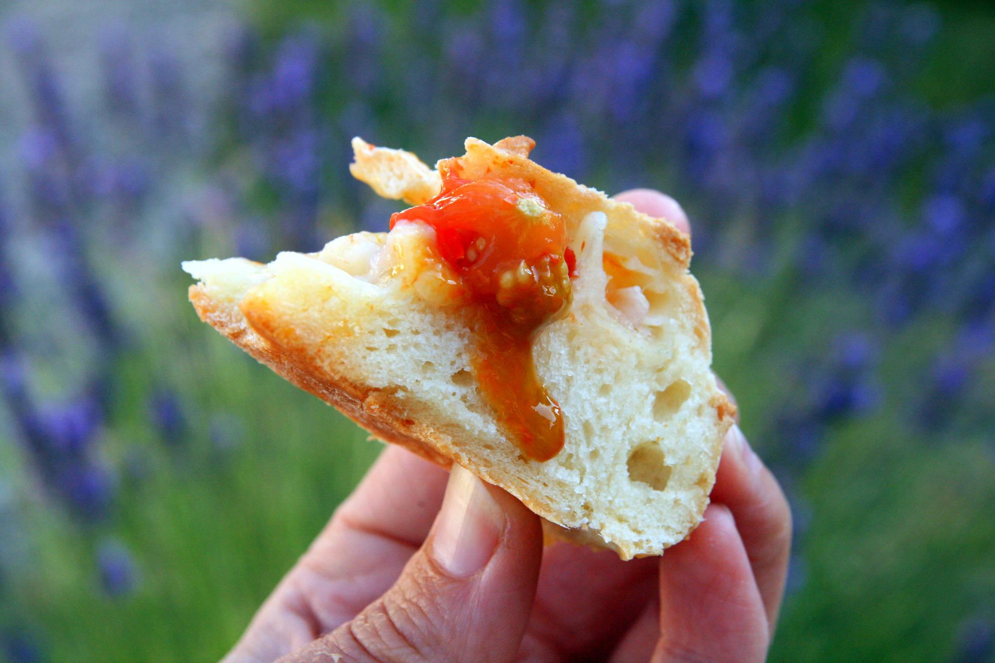 Fougasse aux tomates-cerises et aux oignons nouveaux
