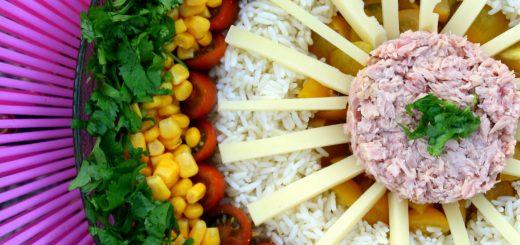 Une salade de riz comme un soleil