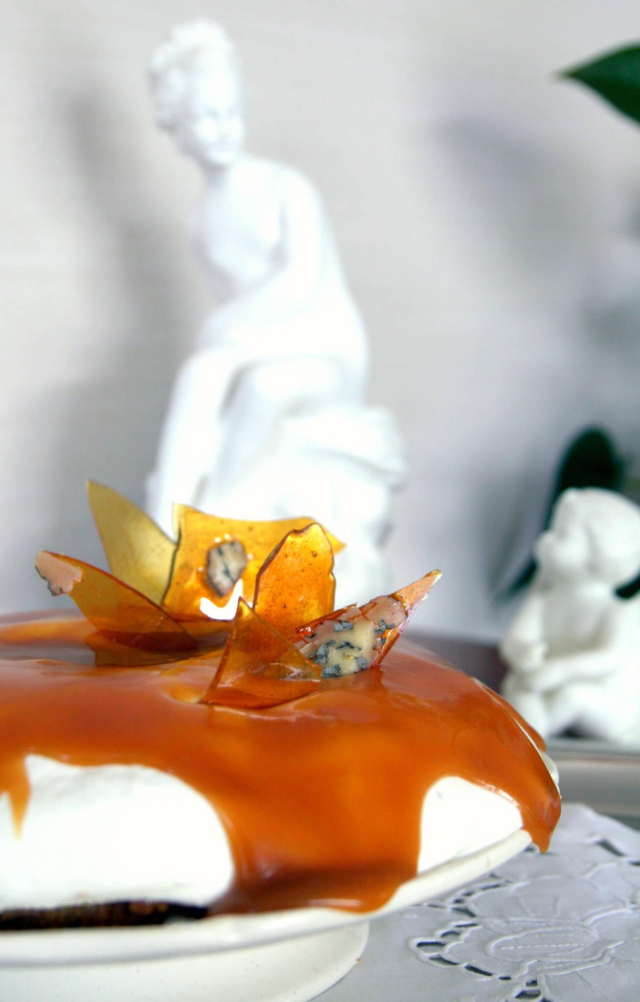 Cheesecake à la Fourme d'Ambert et au caramel