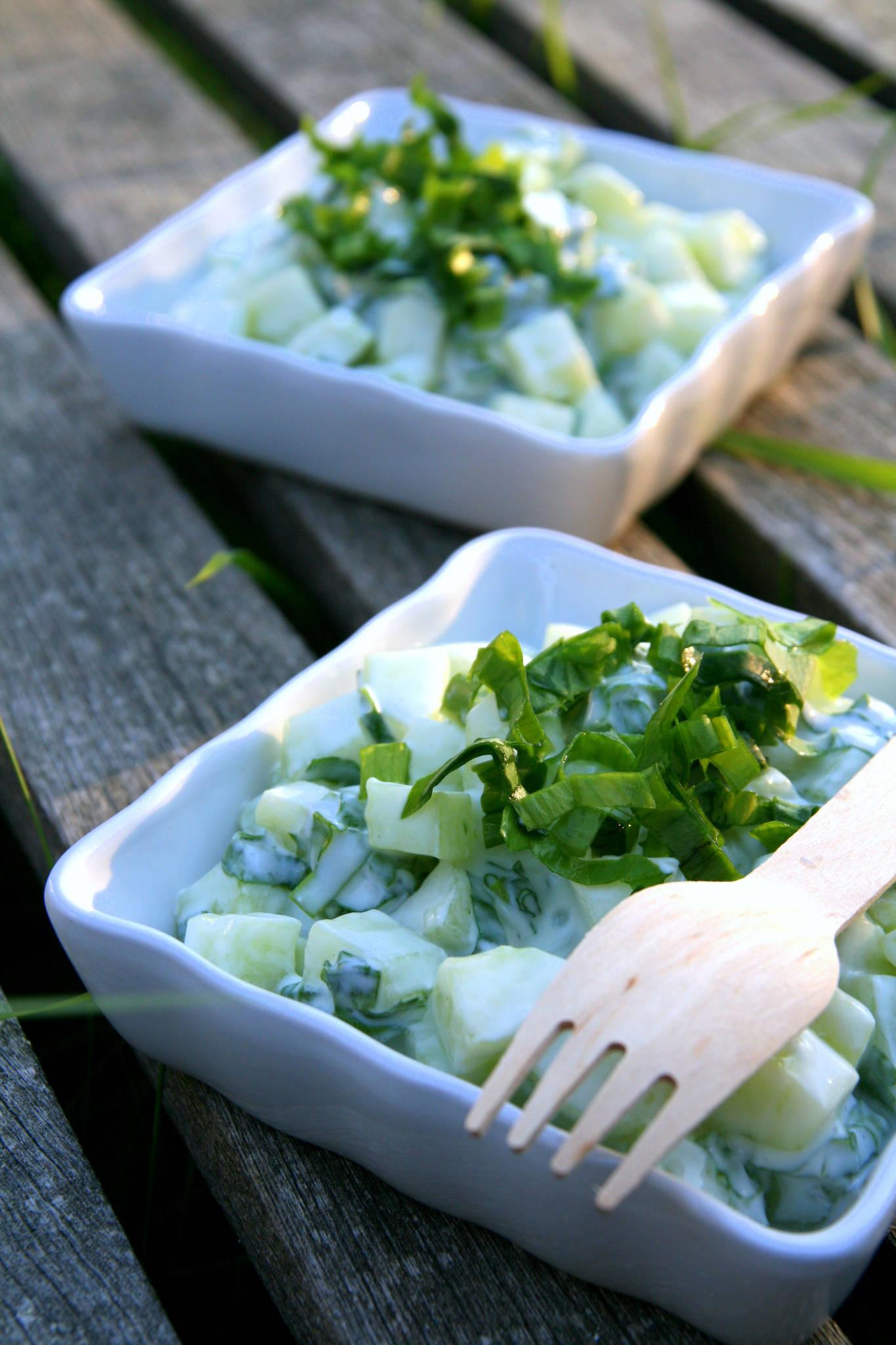 Salade de concombre, yaourt et ail des ours