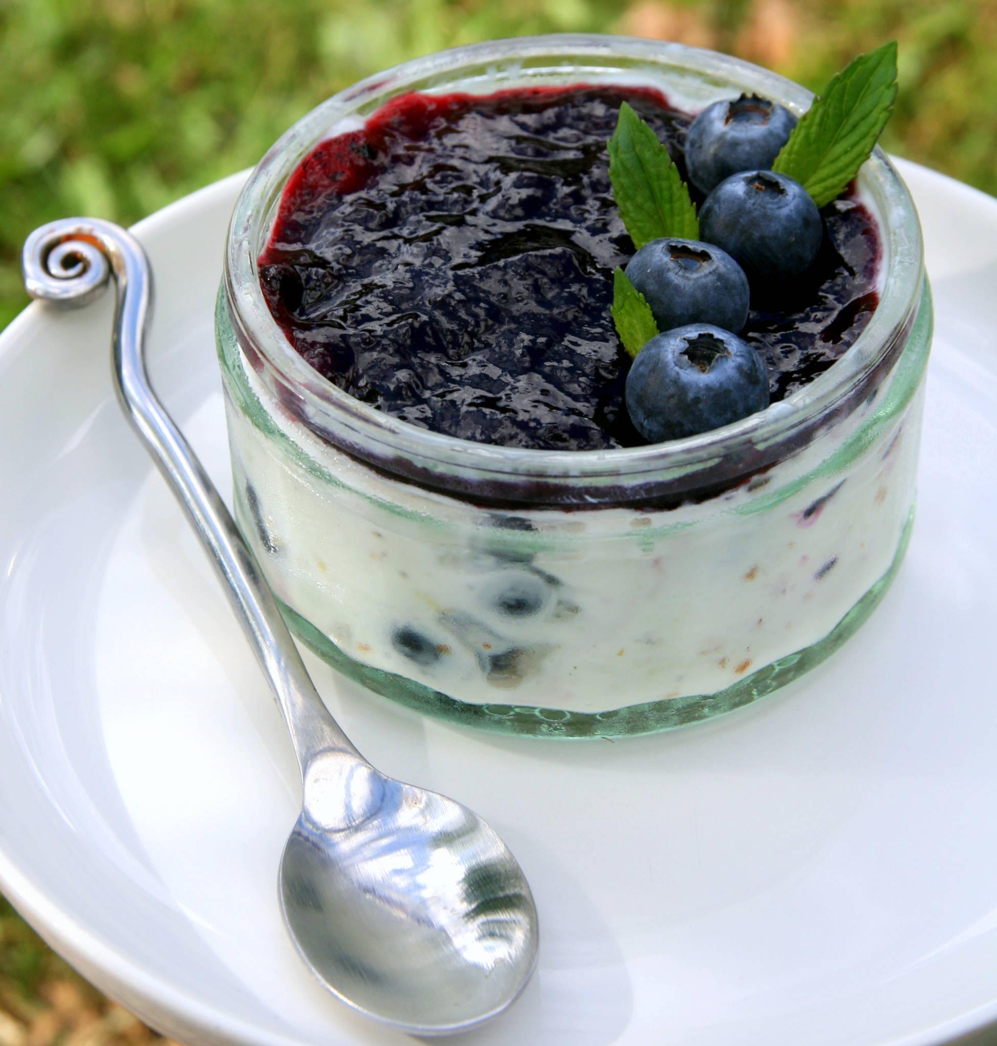 Frozen yogourt aux myrtilles et à la fève tonka