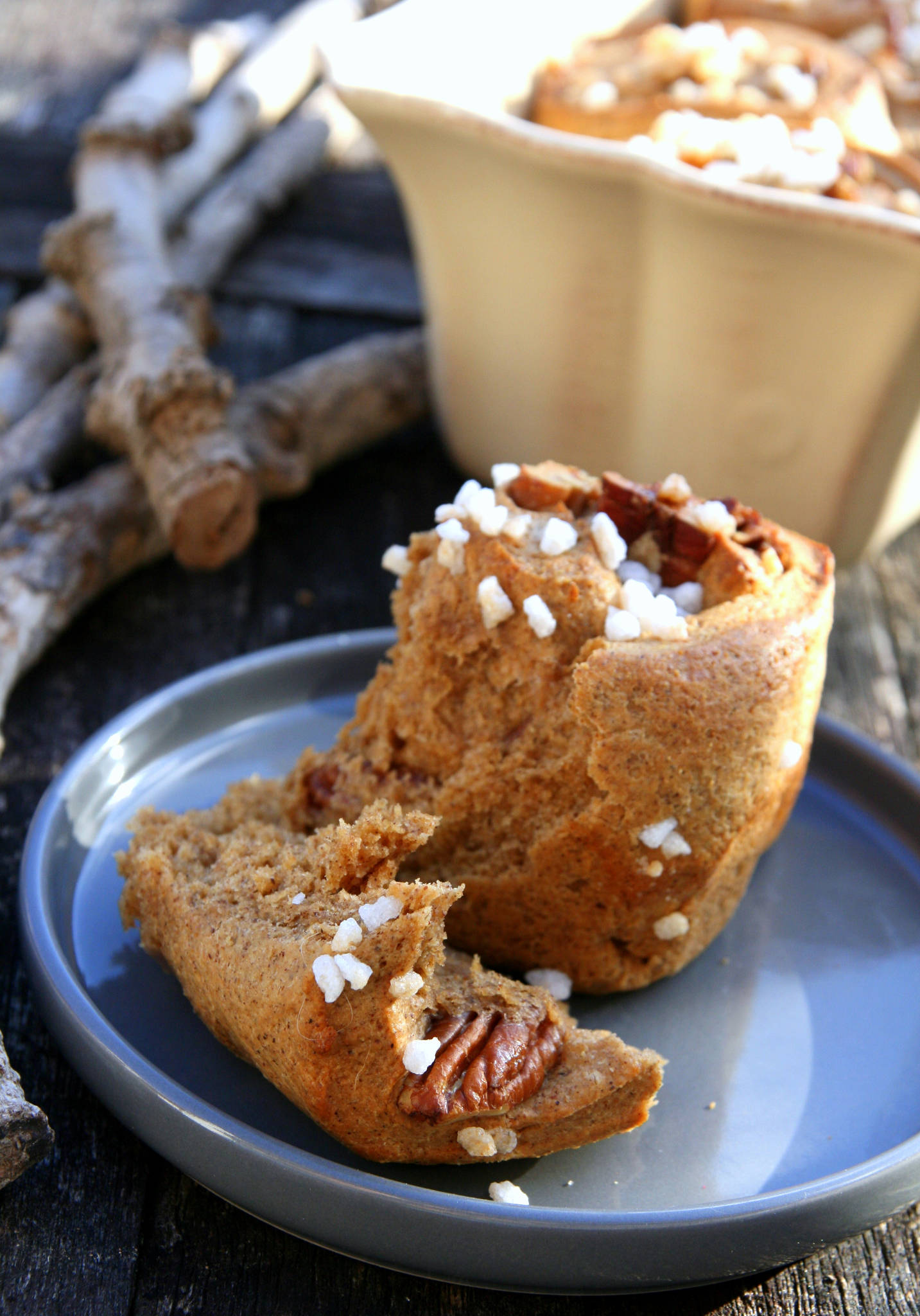 Brioche à la farine de noisettes et aux noix de pécan