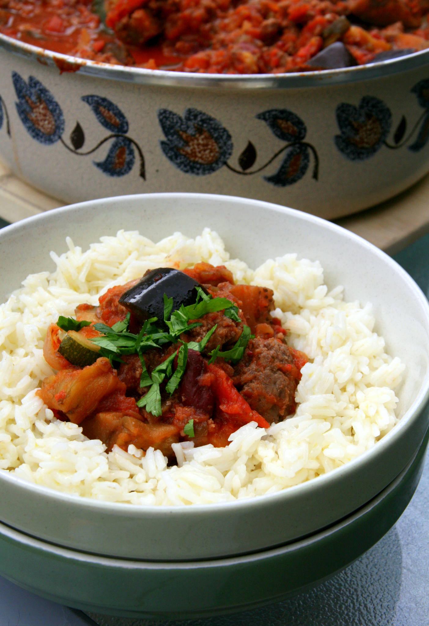Sauce au boeuf et aux légumes grillés