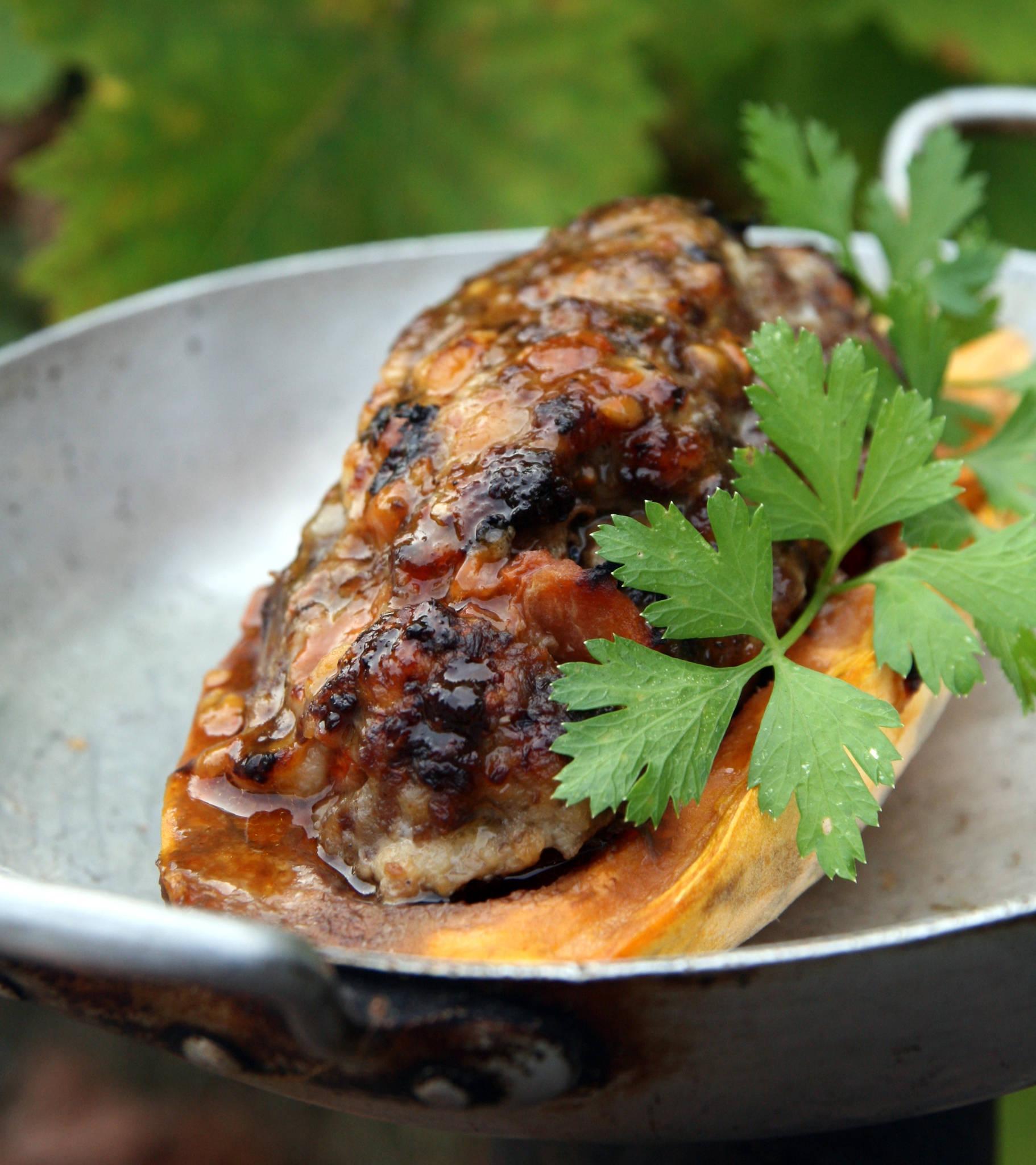 Patate douce farcie aux deux viandes