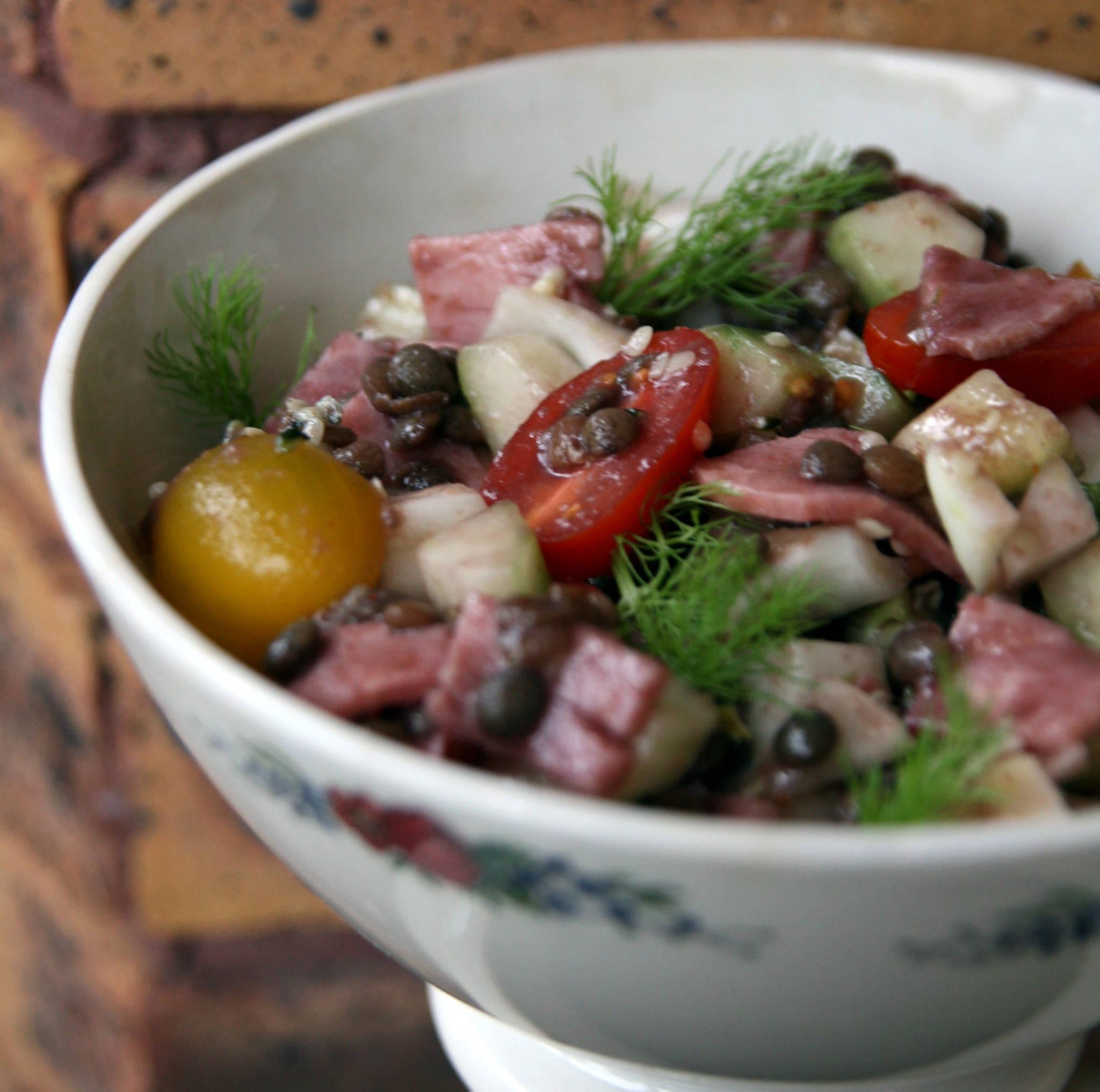 Salade de lentilles aux légumes croquants