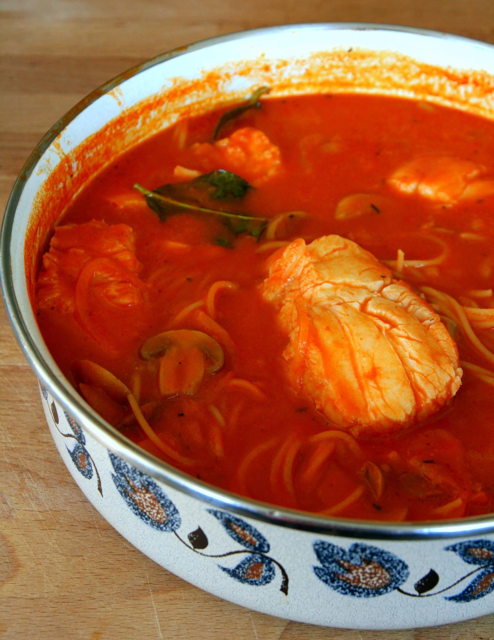 Curry de poisson aux spaghetti