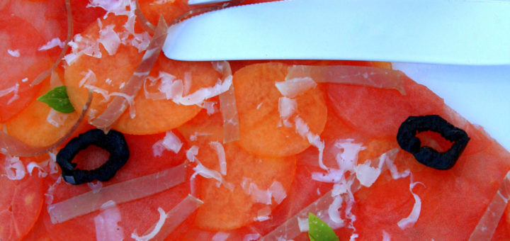 Carpaccio de pastèque et melon, Rosé de Bonnet