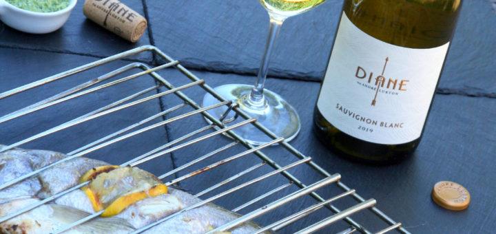 Maigre grillé au fromage d'herbe, Diane Sauvignon Blanc 2019