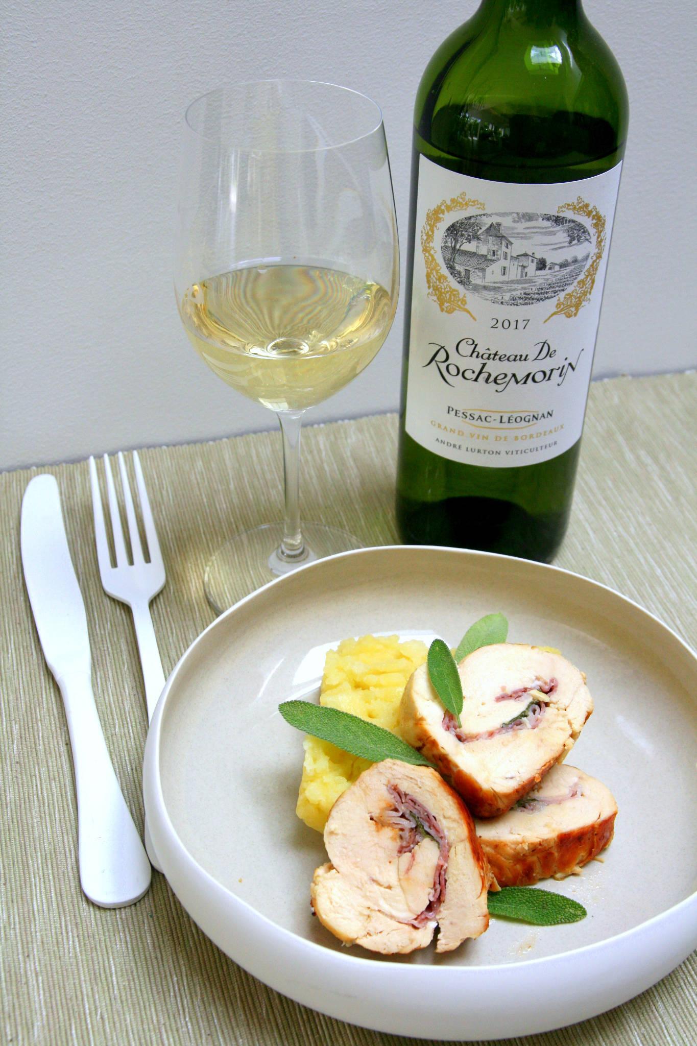 Saltimbocca de poulet, écrasée de pommes de terre à la sauge, Château Rochemorin blanc 2017