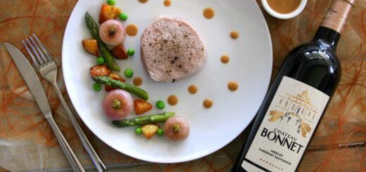 Grenadins de veau, petits légumes de printemps, Château Bonnet rouge 2018